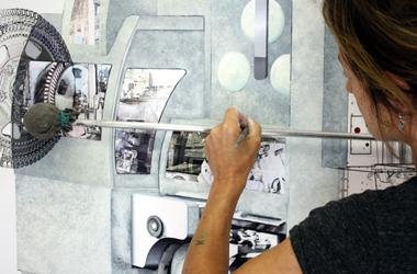 wandgestaltung für firmenräume-arbeit im atelier