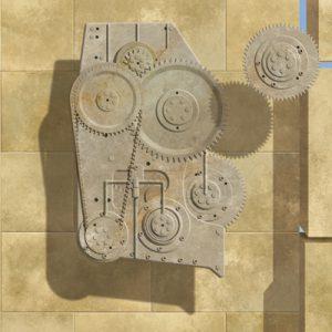 wandgestaltung für firma und buero-detail relief mit zahnrad