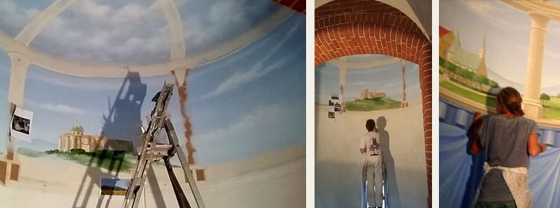 Ausmalung der Marienkapelle im Institut St. Philipp Neri-das Deckengewoelbe